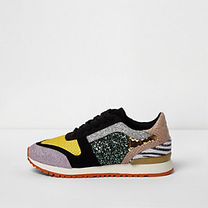 Gold multicolour texured runner trainers