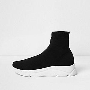 Baskets de course chaussettes en maille noires