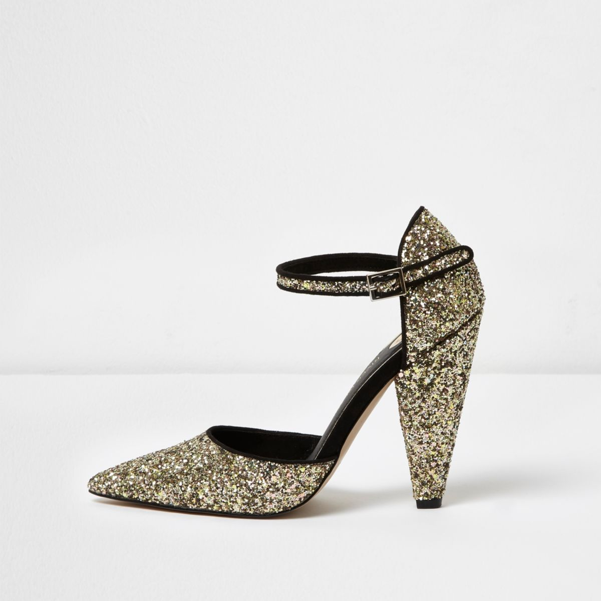 Gold glitter two part cone heel pumps