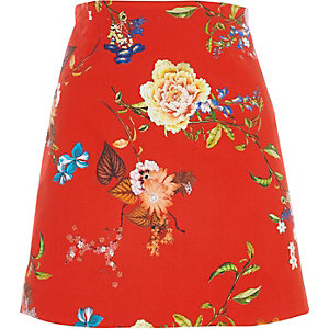 Mini-jupe imprimé fleuri rouge