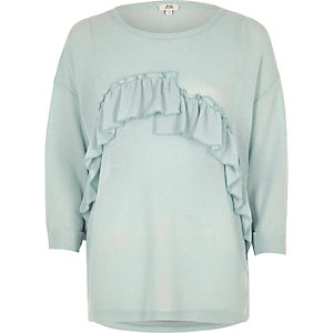 Green frill cut and sew jumper