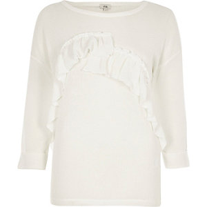 White frill cut and sew jumper