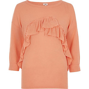 Coral orange frill cut and sew sweater