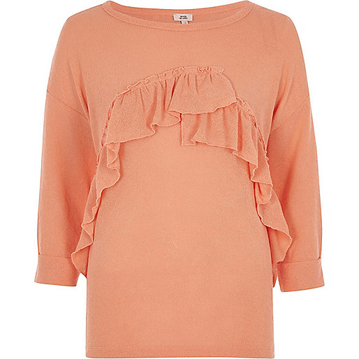 Coral orange frill front top