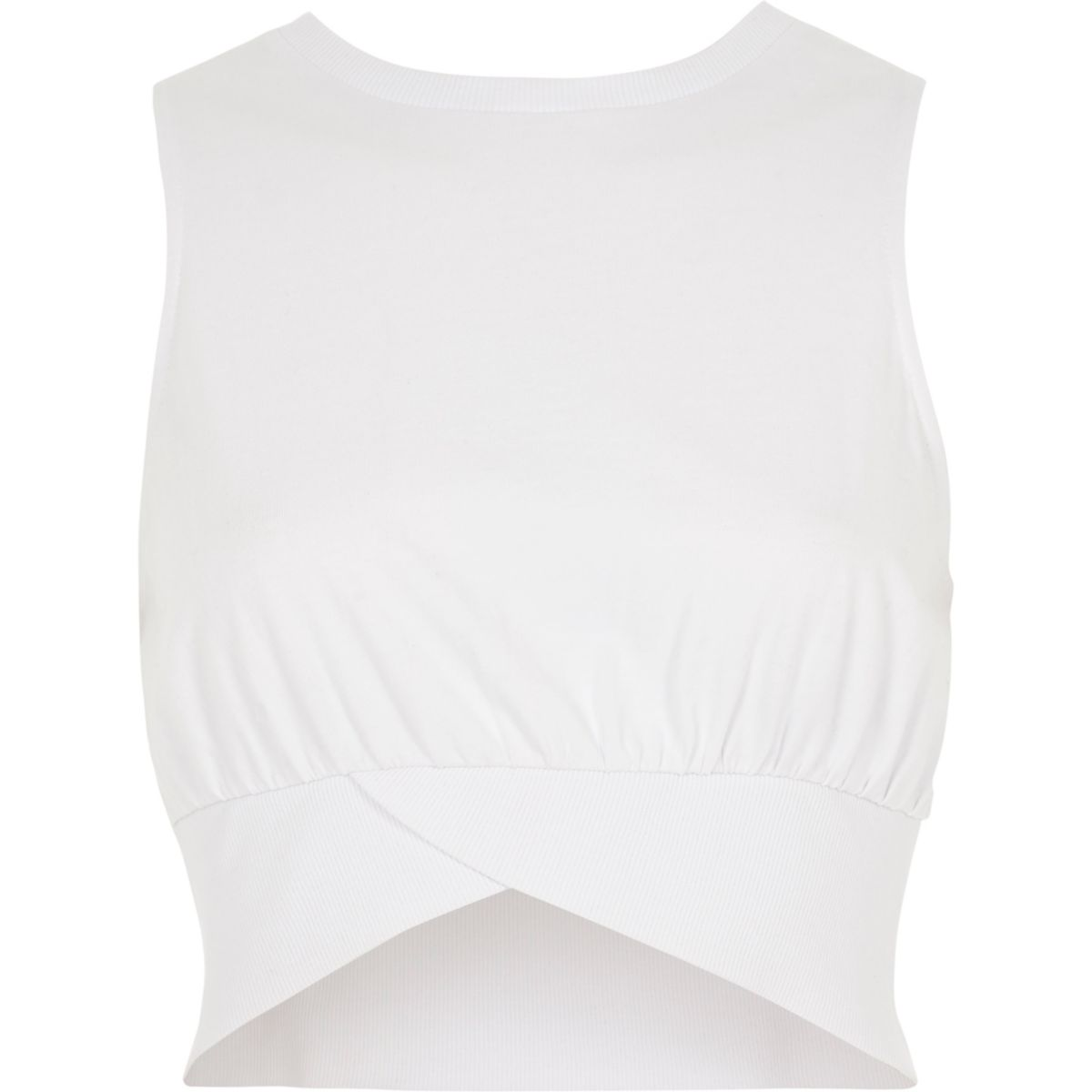 White sleeveless rib crop top