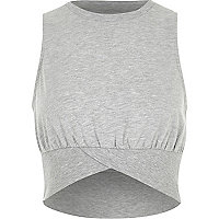 Marl grey sleeveless rib crop top
