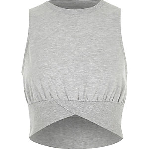Marl grey sleeveless rib crop top