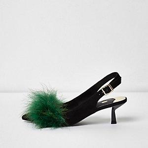 Green feather detail slingback kitten heels