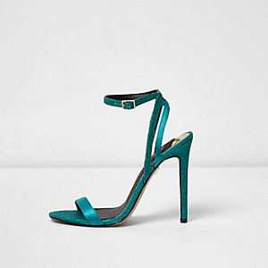 Blue glitter barely there sandals