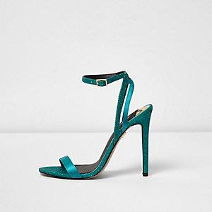 Blauwe minimalistische sandalen met glitter