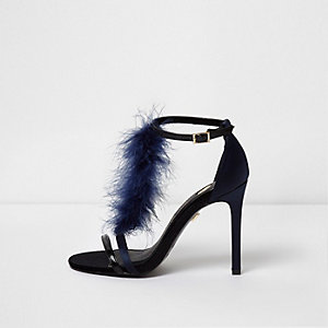 Navy feather T-bar strappy sandals
