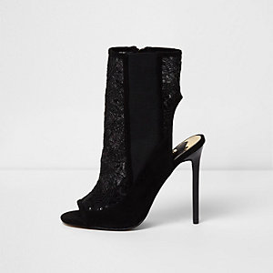 Black sequin mesh stiletto heel shoe boots