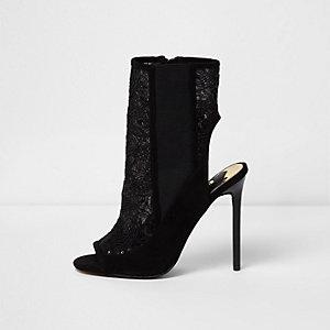 Zwarte mesh hoge schoenen met lovertjes en stilettohakken