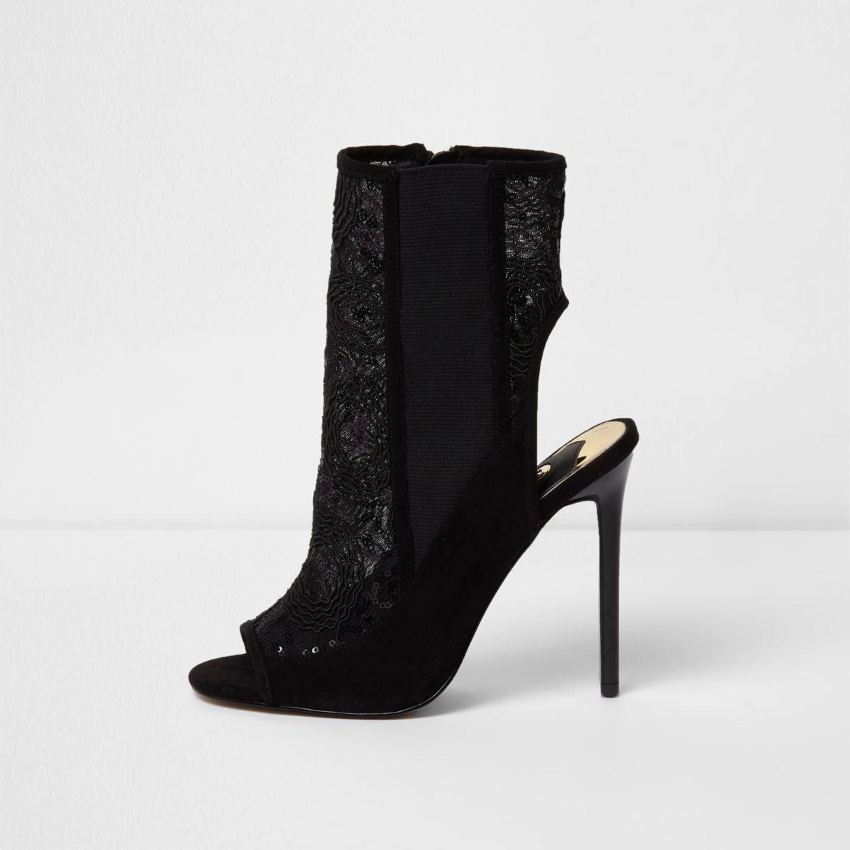 Zwarte mesh schoenlaarsjes met lovertjes en stilettohakken