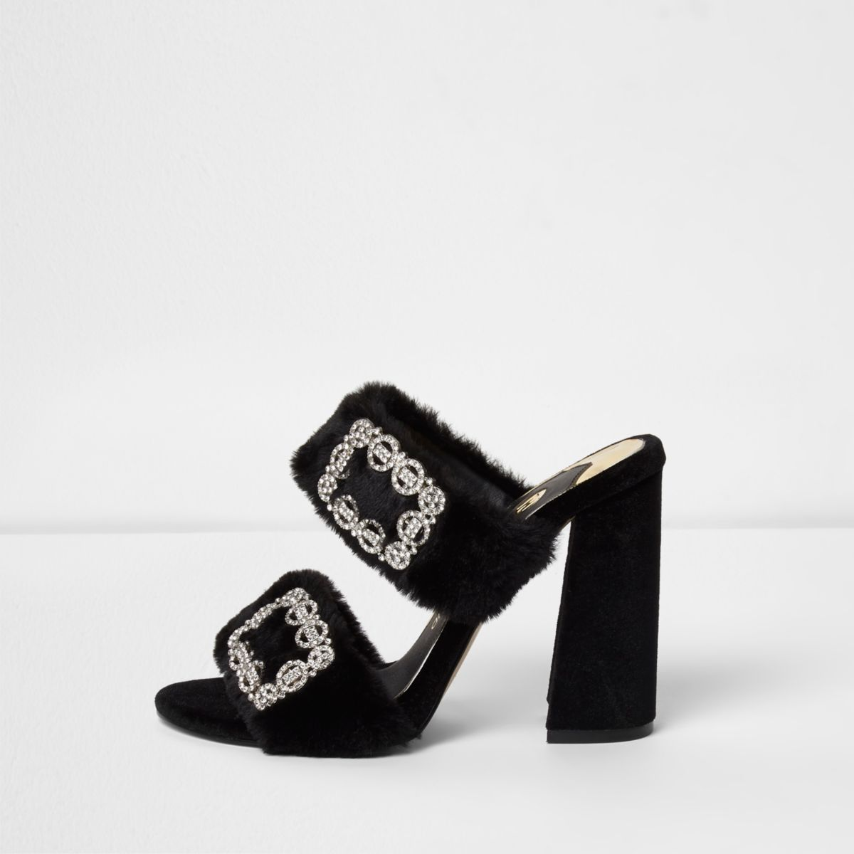 Black faux fur rhinestone buckle heeled mules