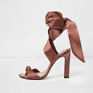 Light pink satin tie up sandals