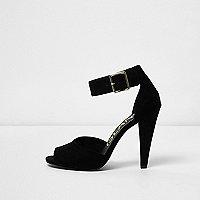 Black buckle cone heel sandals