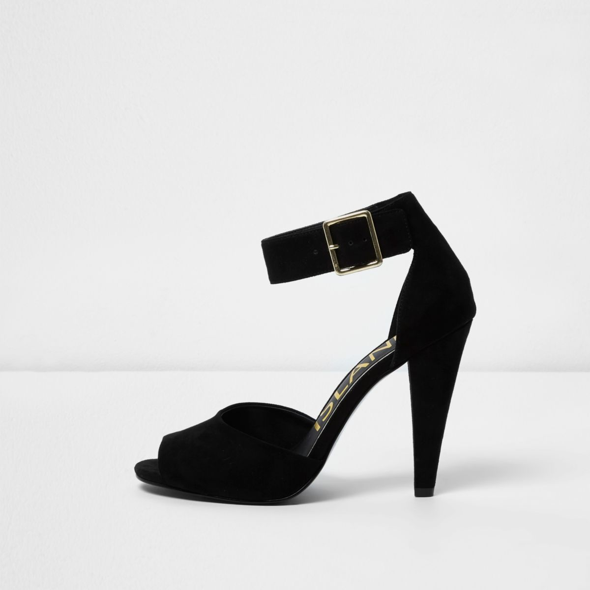Black buckle cone heel sandals