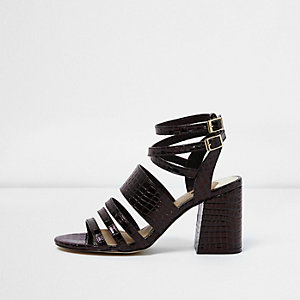 Brown croc strappy block heel sandals