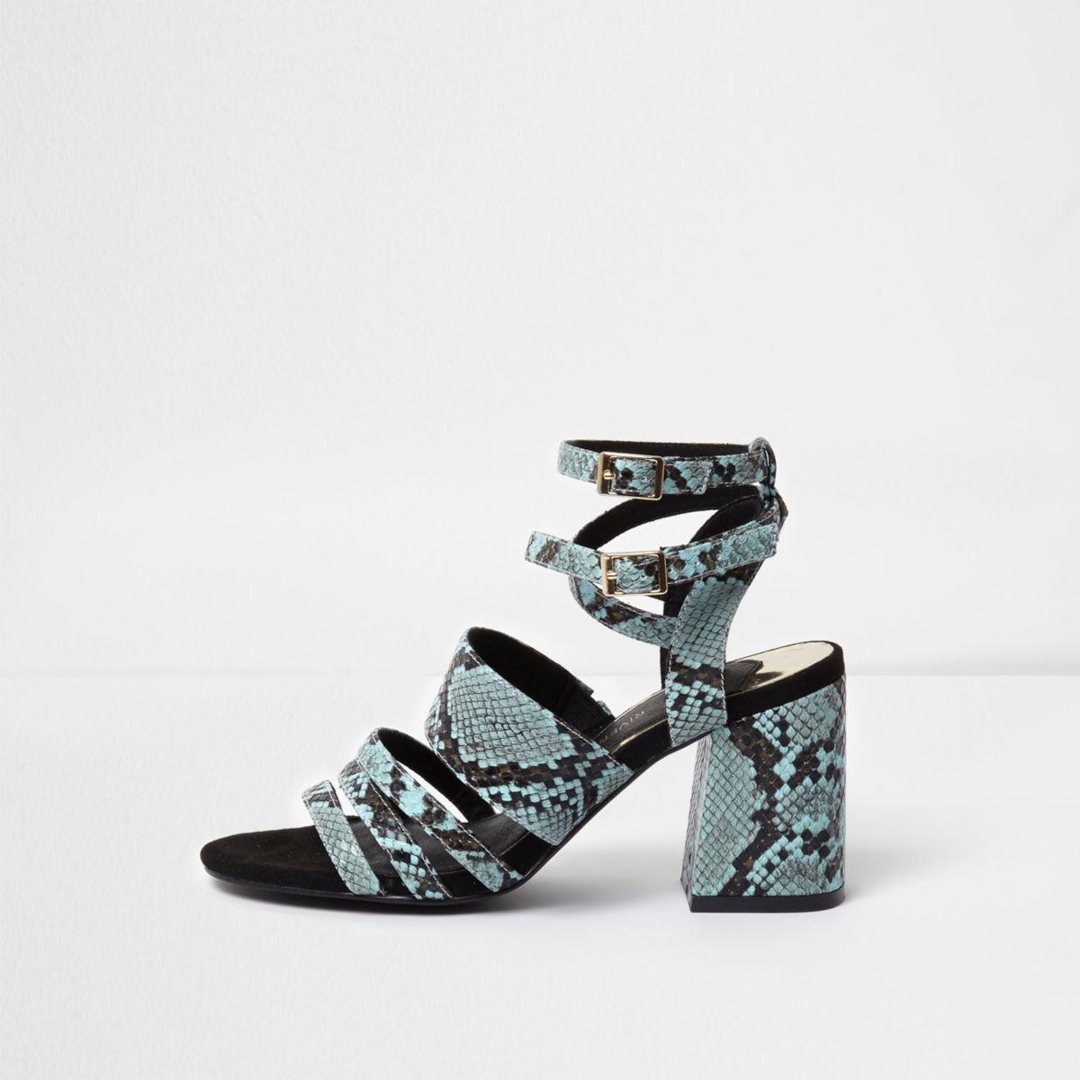 Blue snake embossed block heel sandals