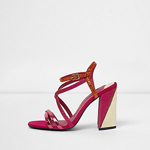 Pink strappy asymmetric block heel sandals