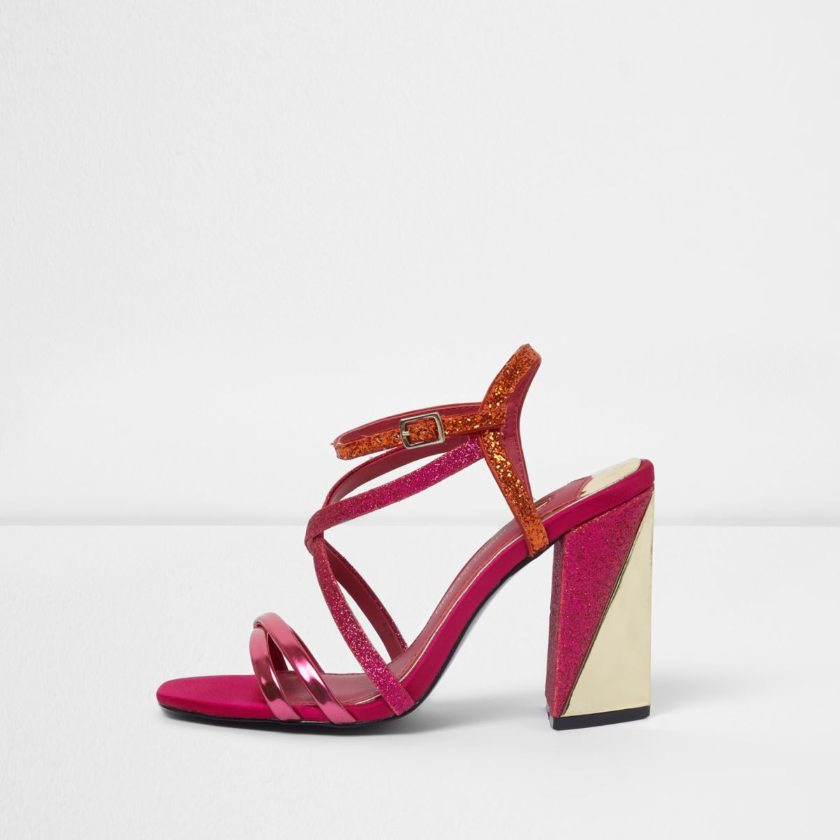 Pink strappy asymmetric block heel sandals