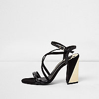 Black caged gold tone block heel sandals