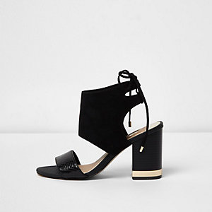 Black tie back block heel shoe boots