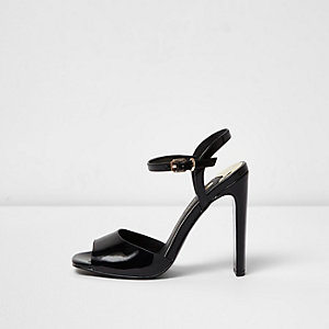 Black slim block heel sandals