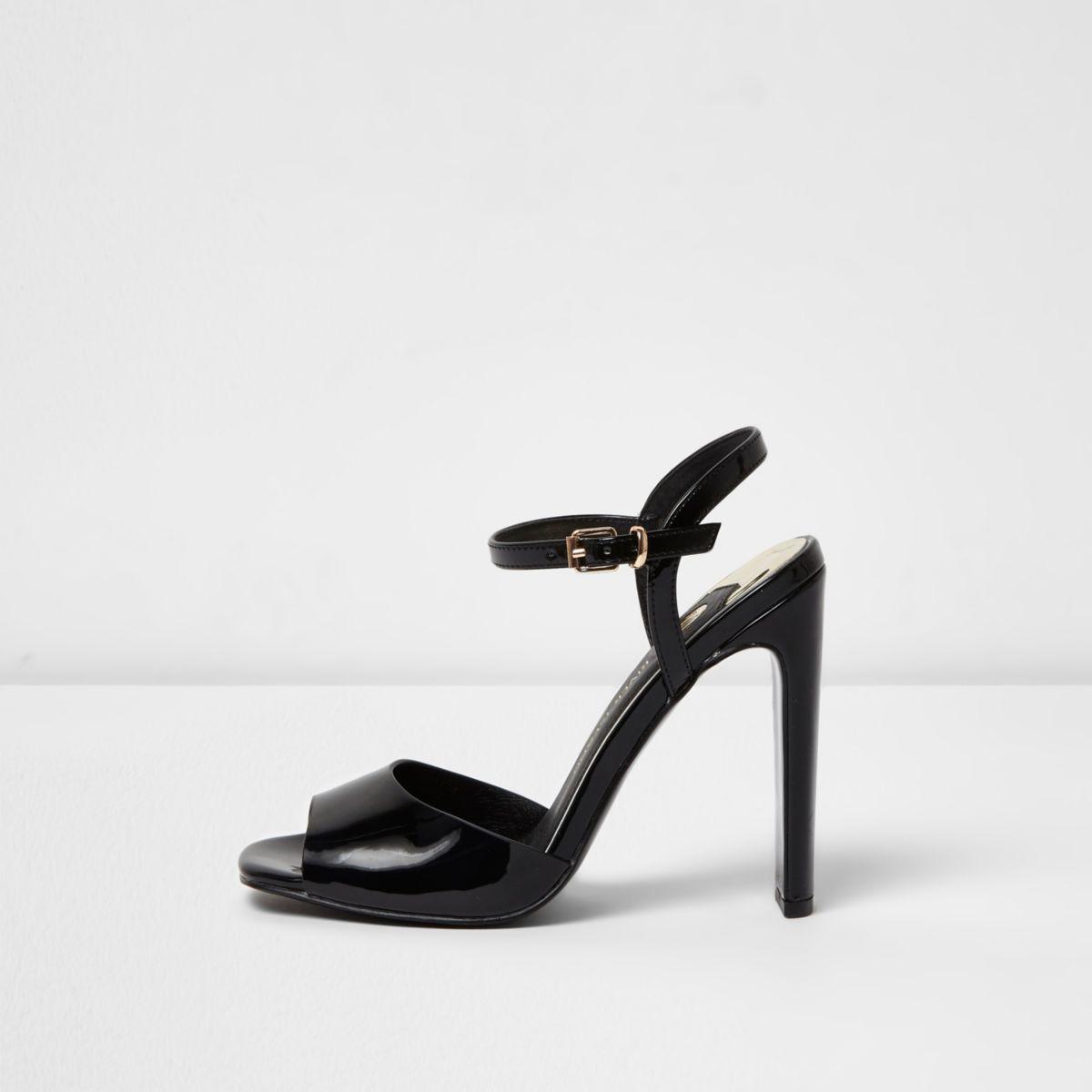 Black slim block heel sandals