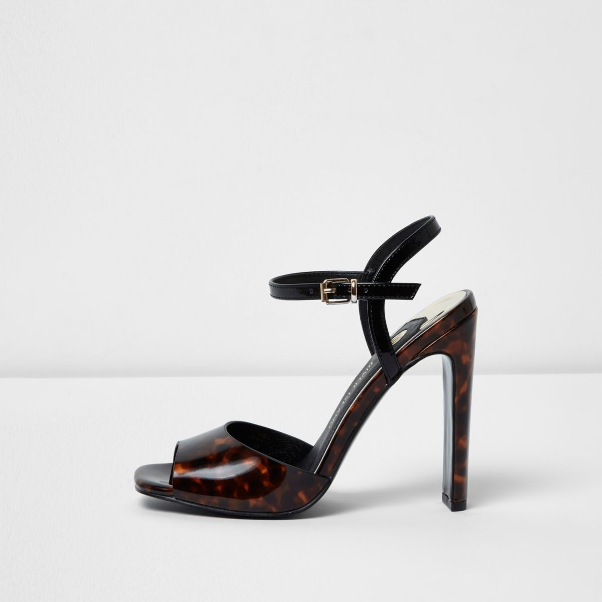 Brown tortoiseshell peep toe heeled sandals