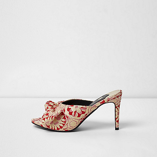 Red floral jacquard bow front heeled mules