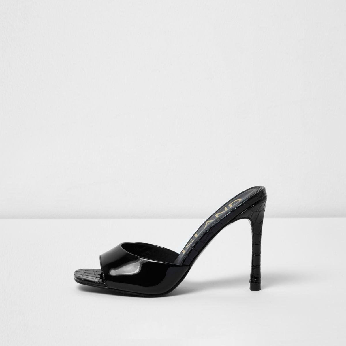 Black low vamp croc heeled mules