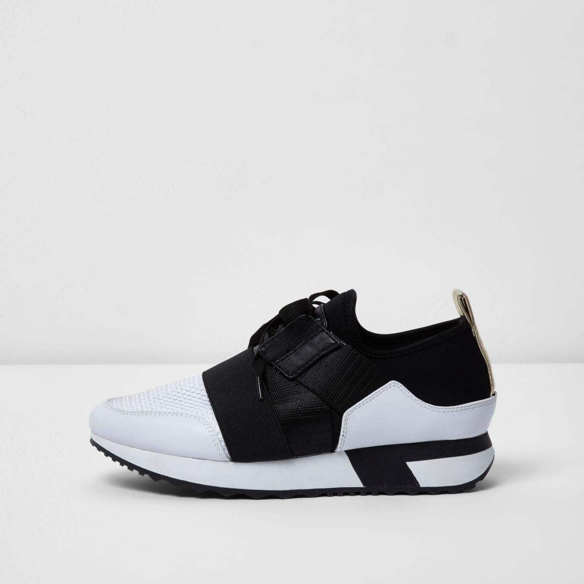 White and black elastic strap runner sneakers