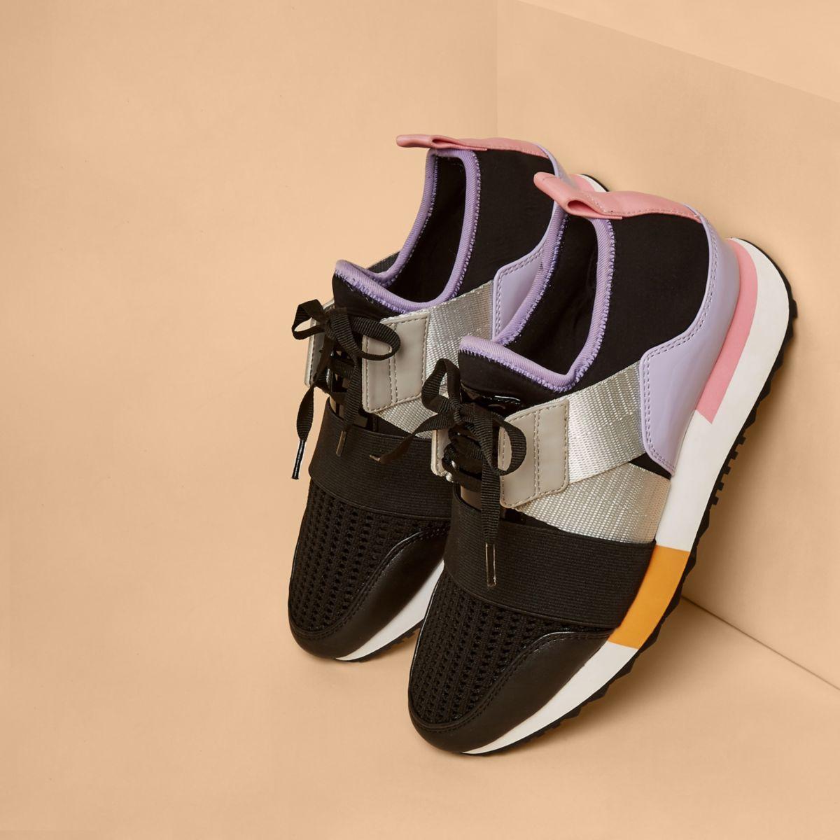 Purple color block strap runner sneakers