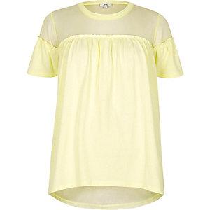 Geel T-shirt met ruches voor en mesh inzetstuk