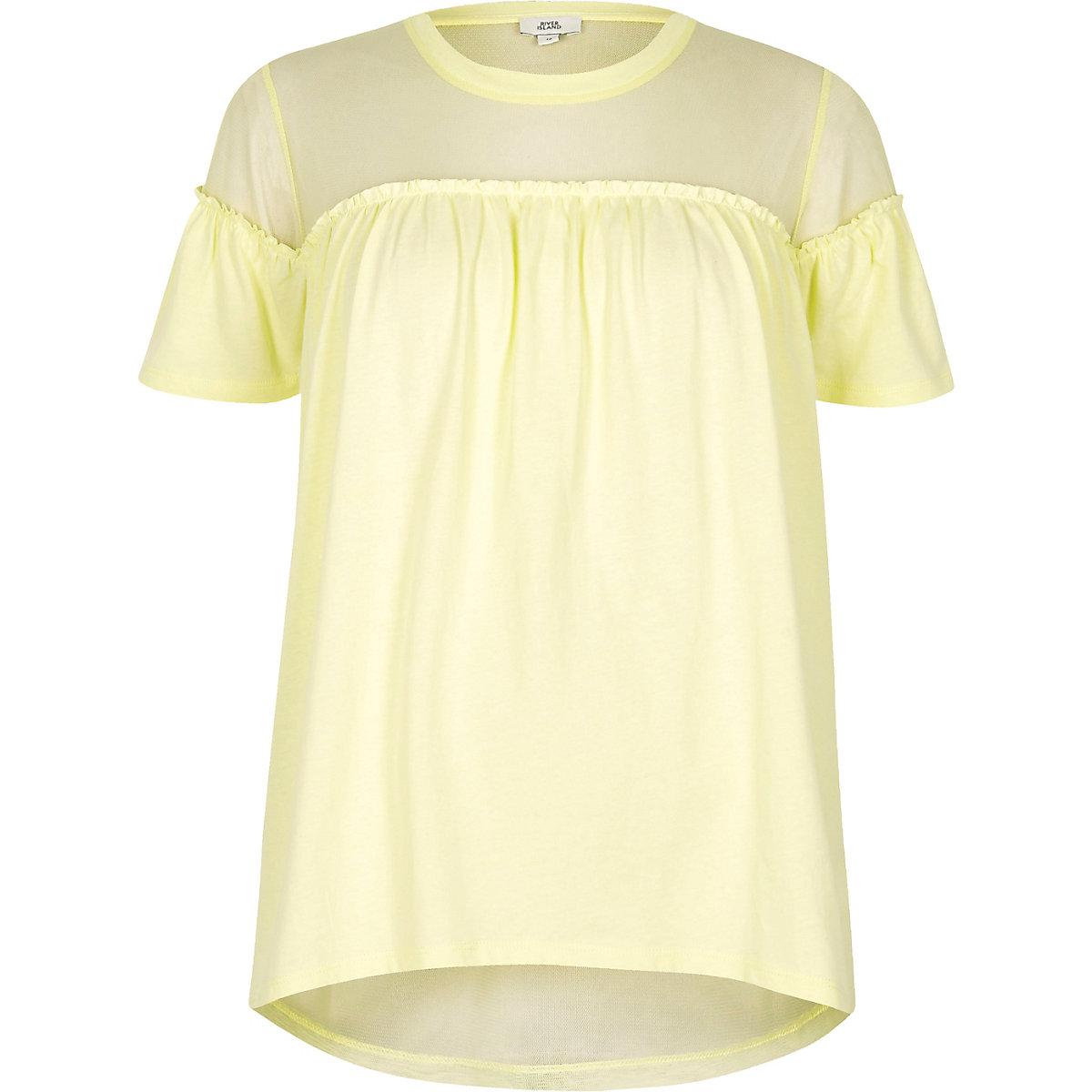 Yellow ruffle front mesh insert T-shirt