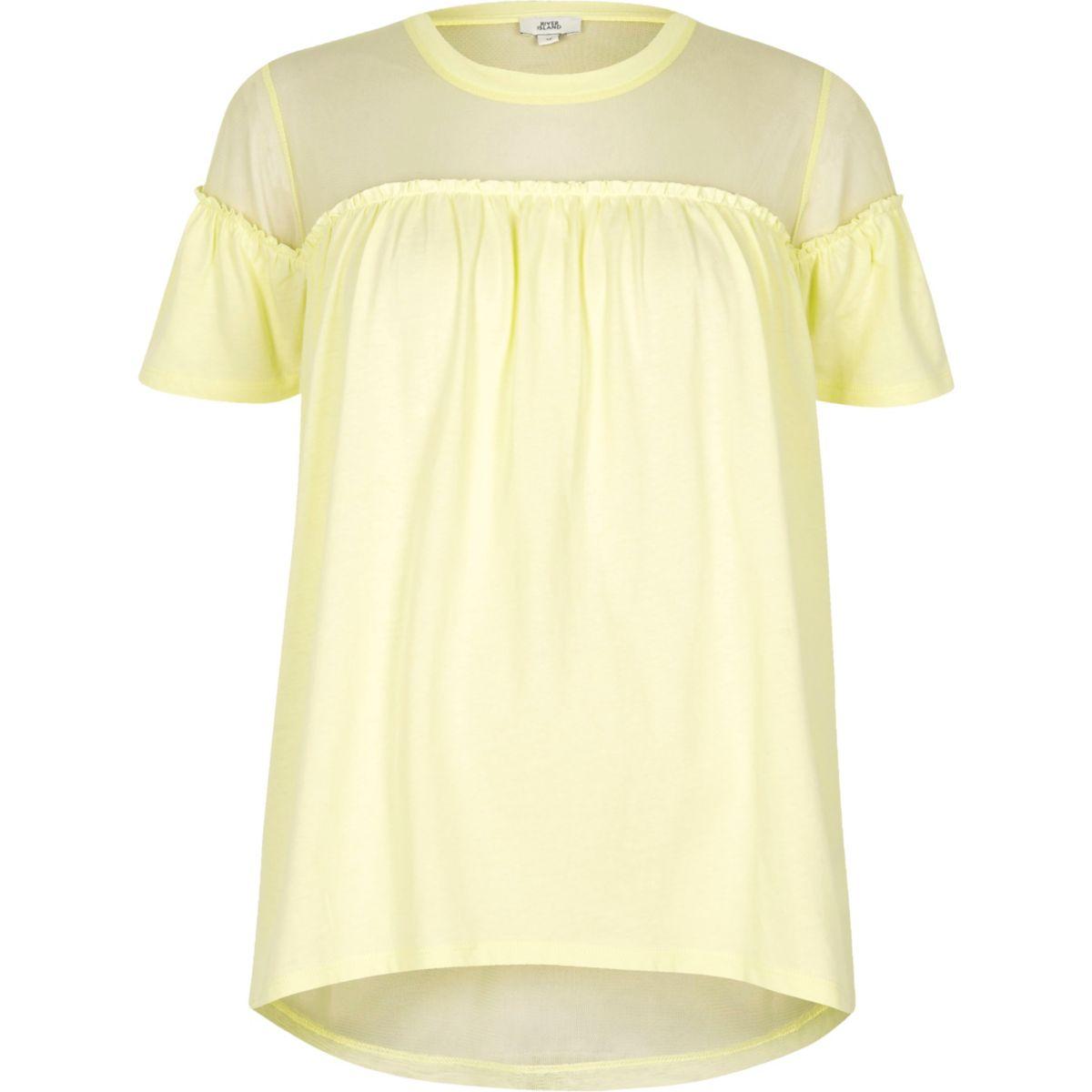 Gelbes T-Shirt mit Mesh-Einsatz