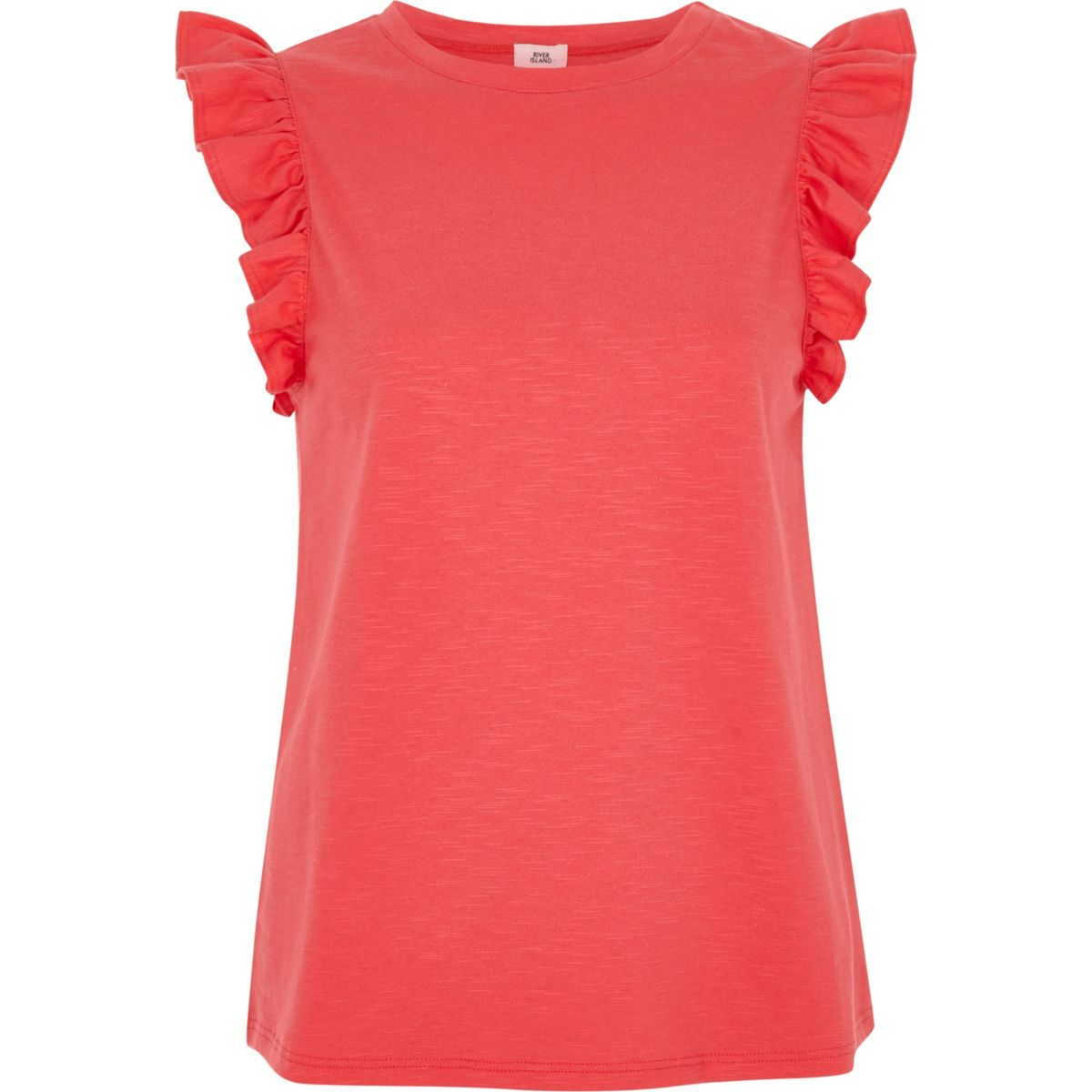 Bright pink frill sleeve tank top