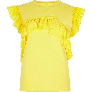 T-shirt jaune à volants
