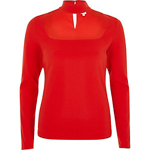 Red choker detail long sleeve fitted top
