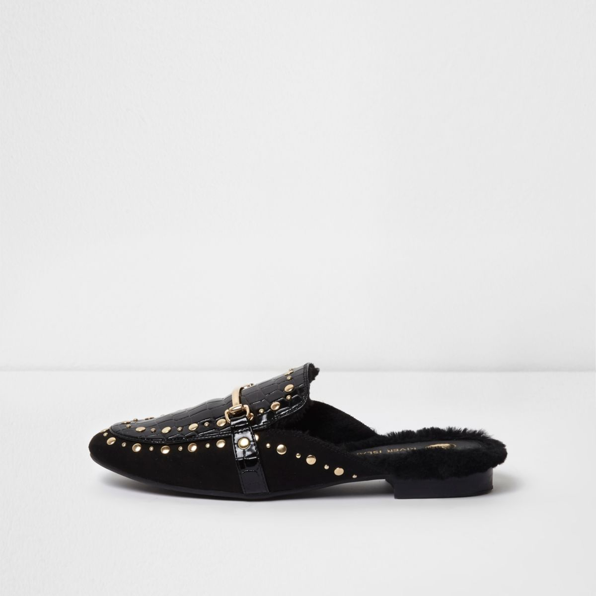 Black croc embossed stud backless loafers