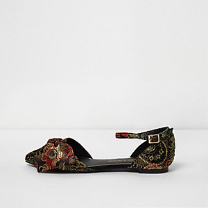 Black floral jacquard pointed two part shoes