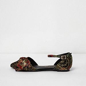 Chaussures pointues en jacquard à fleurs noires en deux parties