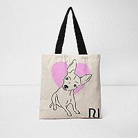 Beige heart and dog print shopper bag