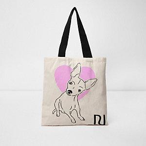 Beige Shopper-Tasche mit Herz- und Hundemotiv