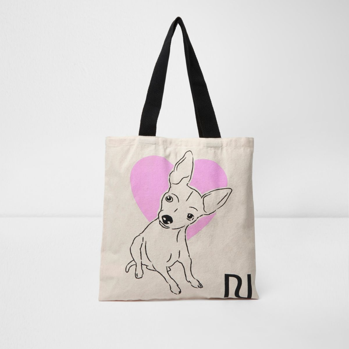 Beige heart and dog print shopper bag