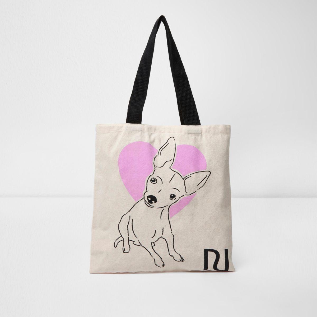 Beige heart and dog print shopper
