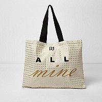 Beige 'all mine' foil print shopper