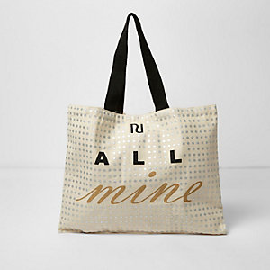 Beige 'all mine' foil print shopper bag